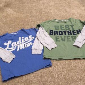 Qty 2 Carter's long sleeve T-shirt size 5